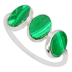 6.42cts natural green malachite (pilot's stone) 925 silver ring size 8 r88003