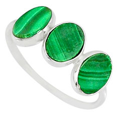 6.94cts natural green malachite (pilot's stone) 925 silver ring size 8 r88007