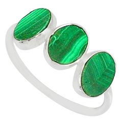 7.36cts natural green malachite (pilot's stone) 925 silver ring size 8 r88008