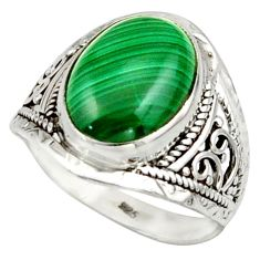 6.48cts natural green malachite (pilot's stone) 925 silver ring size 9 r42808