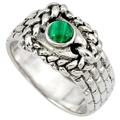 Natural green malachite (pilot's stone) 925 sterling silver ring size 7.5 c11877