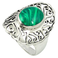 Natural green malachite (pilot's stone) 925 sterling silver ring size 8.5 c12323