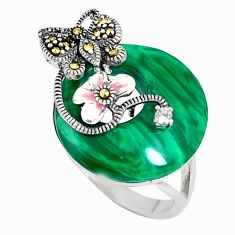 Natural green malachite (pilot's stone) silver lady face ring size 6.5 c22962