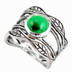 3.01cts natural green malachite 925 silver solitaire leaf ring size 6.5 r36975