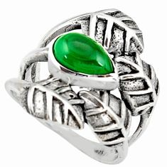2.19cts natural green malachite 925 silver solitaire leaf ring size 6.5 r37068