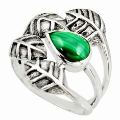 1.94cts natural green malachite 925 silver solitaire leaf ring size 7.5 r37070