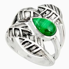 2.10cts natural green malachite 925 silver solitaire leaf ring size 8.5 r37071