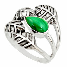 2.28cts natural green malachite 925 silver solitaire leaf ring size 8 r37069