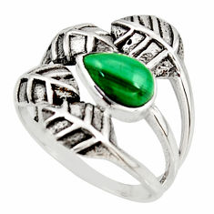 2.00cts natural green malachite 925 silver solitaire leaf ring size 8 r37072