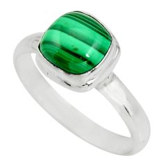 3.51cts natural green malachite 925 silver solitaire ring size 8.5 r26387