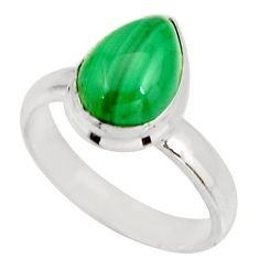 2.93cts natural green malachite 925 silver solitaire ring size 5.5 r27412