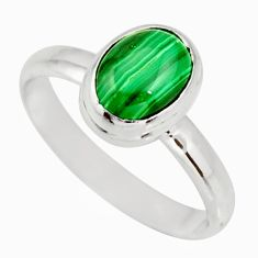 3.32cts natural green malachite 925 silver solitaire ring size 8.5 r27414