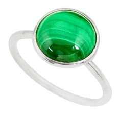 4.65cts natural green malachite 925 silver solitaire ring size 6.5 r81671