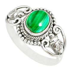 1.94cts natural green malachite 925 silver solitaire ring size 9.5 r82382
