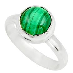 3.42cts natural green malachite 925 silver solitaire ring size 6 r26381