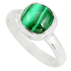 3.17cts natural green malachite 925 silver solitaire ring size 7 r26382