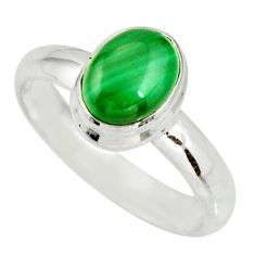 2.21cts natural green malachite 925 silver solitaire ring size 7 r27417