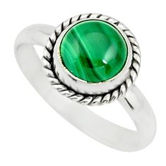 3.51cts natural green malachite 925 silver solitaire ring size 8 r26386