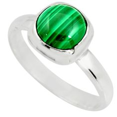 3.31cts natural green malachite 925 silver solitaire ring size 8 r26390