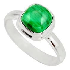 2.93cts natural green malachite 925 silver solitaire ring size 8 r27413