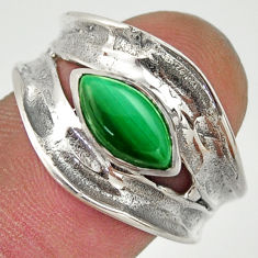 2.44cts natural green malachite 925 silver solitaire ring size 8 r37092