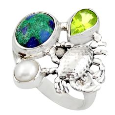 6.63cts natural green malachite in chrysocolla silver crab ring size 9 d46003