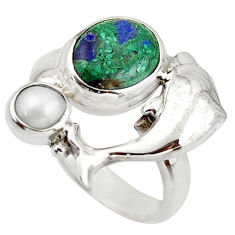 5.42cts natural green malachite in chrysocolla silver dolphin ring size 7 d46010
