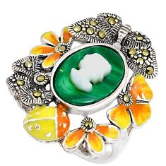 Natural green malachite lady face 925 silver ring jewelry size 7.5 c21413
