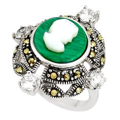 6.02cts natural green malachite lady face 925 silver ring size 7 c16050