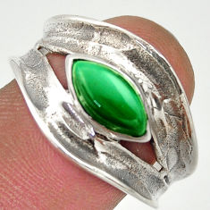 2.44cts natural green malachite marquise 925 silver solitaire ring size 9 r37091
