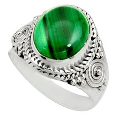 5.38cts natural green malachite oval 925 silver solitaire ring size 6.5 r26609