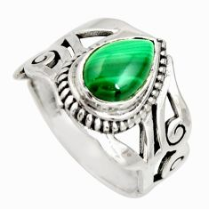 2.51cts natural green malachite pear 925 silver solitaire ring size 6 r26242