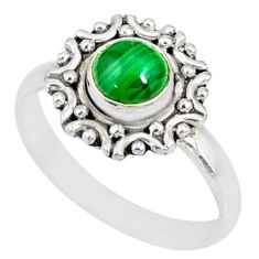1.20cts natural green malachite round 925 silver solitaire ring size 8 r82111