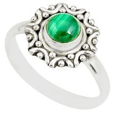 1.17cts natural green malachite round 925 silver solitaire ring size 9 r82109