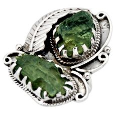 17.01cts natural green moldavite (genuine czech) 925 silver ring size 6.5 r44423