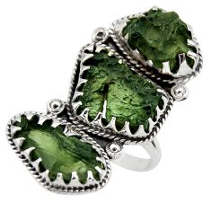 22.73cts natural green moldavite (genuine czech) 925 silver ring size 8.5 r44428