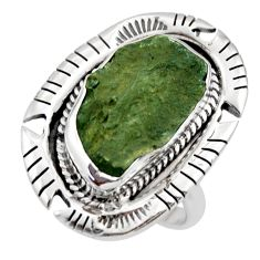 8.11cts natural green moldavite (genuine czech) 925 silver ring size 7.5 r44431
