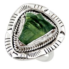 7.50cts natural green moldavite (genuine czech) 925 silver ring size 7.5 r44433