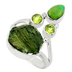 7.36cts natural green moldavite (genuine czech) 925 silver ring size 8.5 r44435