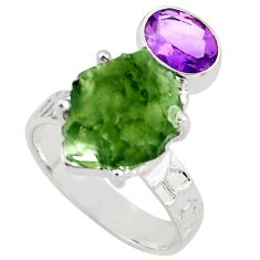 8.22cts natural green moldavite (genuine czech) 925 silver ring size 7 r38358