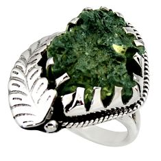 7.91cts natural green moldavite (genuine czech) 925 silver ring size 7 r44424