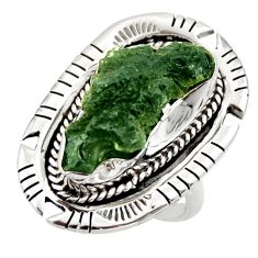 9.95cts natural green moldavite (genuine czech) 925 silver ring size 7 r44430
