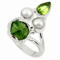 7.36cts natural green moldavite (genuine czech) 925 silver ring size 7 r44448