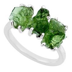 8.88cts natural green moldavite (genuine czech) 925 silver ring size 7 r71985