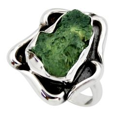 6.53cts natural green moldavite (genuine czech) 925 silver ring size 8 r44432
