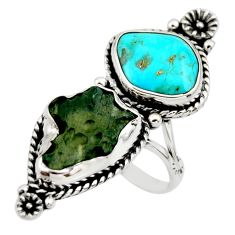 14.82cts natural green moldavite (genuine czech) 925 silver ring size 8 r44436