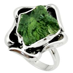 6.79cts natural green moldavite (genuine czech) 925 silver ring size 8 r44444