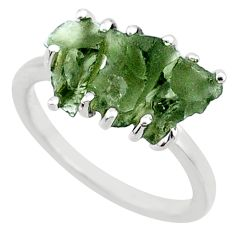 7.87cts natural green moldavite (genuine czech) fancy silver ring size 7 r71988