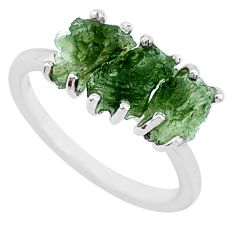 8.33cts natural green moldavite (genuine czech) fancy silver ring size 8 r71987