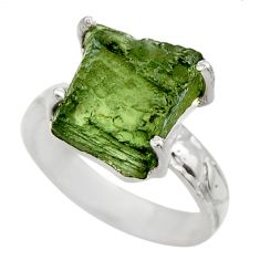 6.39cts natural green moldavite 925 silver solitaire ring size 6.5 r29452